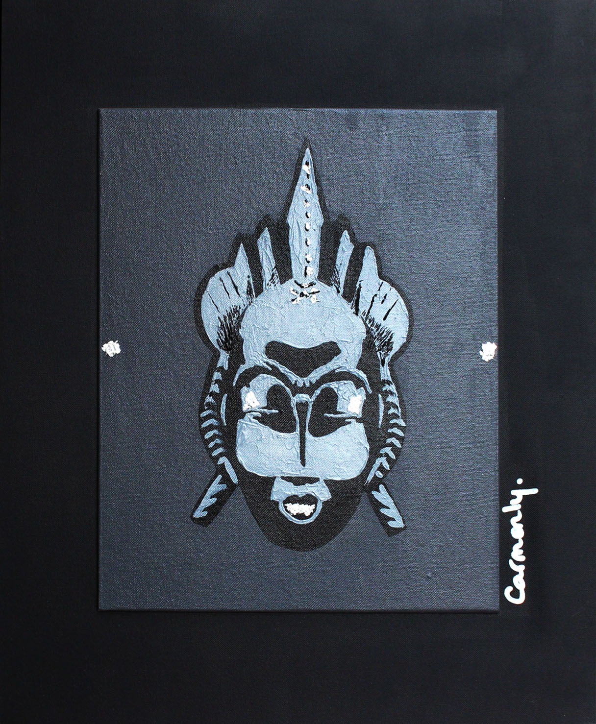 BAOULÉ - 50x61cm - Acrylique sur toile + feuille d'argent - 2009