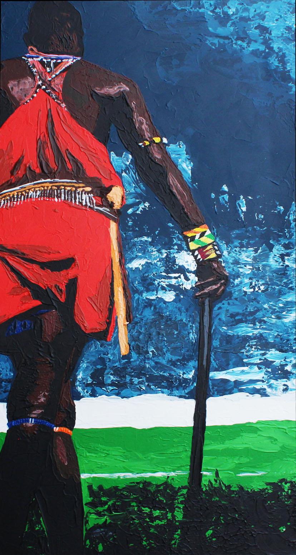 GUERRIER MASSAI - 50x100cm - Acrylique - 2011